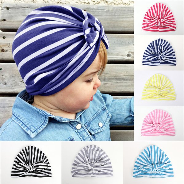 Baby Beanie Caps Rabbit Ear Striped Hats Girls Cute Bow India Cap For Kids Spring Autumn Cotton Hat Free DHL 673