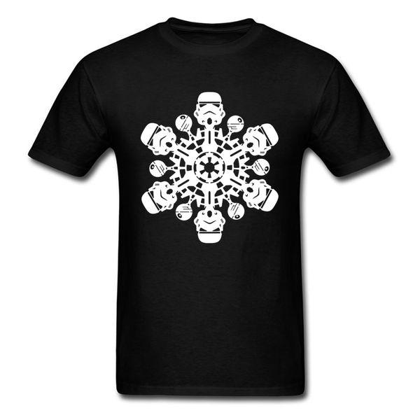 Christmas Wholesale Discount Tshirt Men Stormtrooper Snowflake T Shirt Custom Gift T Shirts Teen Black Clothing Cotton Tops Funny Tee