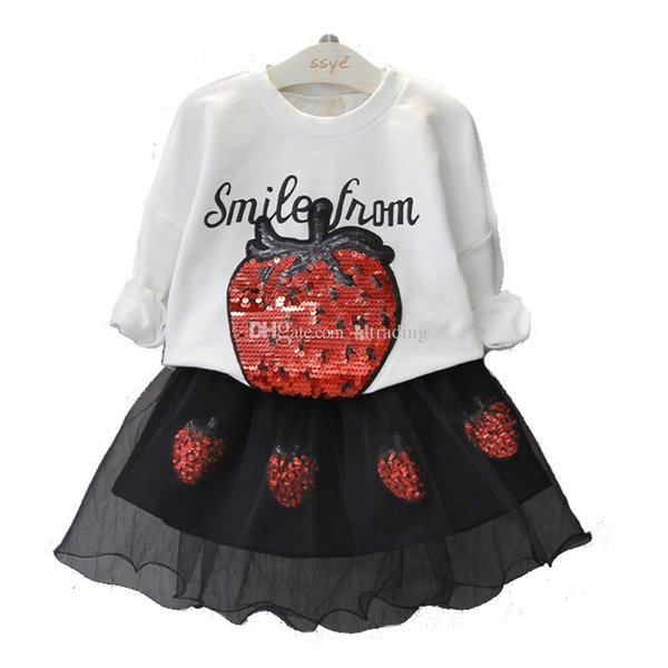Baby girls Strawberry outfits children sequins top+Tulle skirts 2pcs/set 2018 Boutique suits kids Clothing Sets C4396