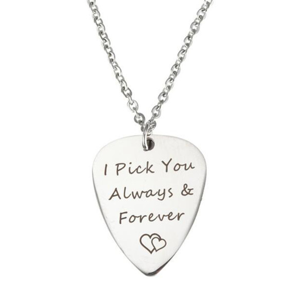 Silver necklace I Pick You Every Time Guitar Pick Stainless Steel Pendant Valentine Gift for Lover Women Men Boy Girl