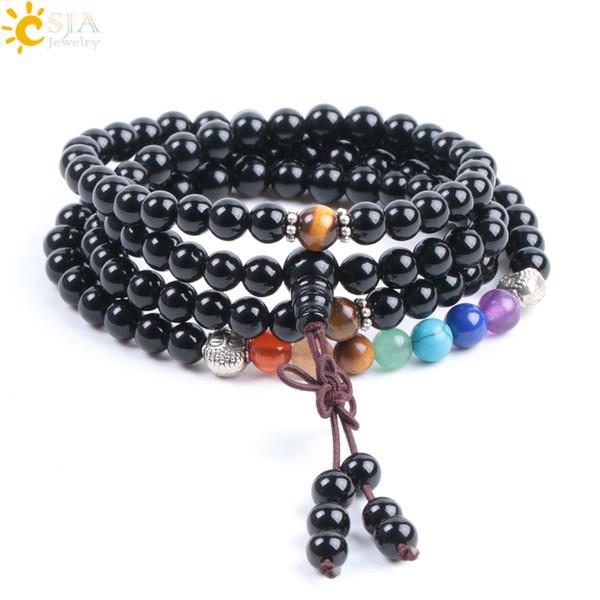 CSJA 6mm Natural Gem Stone Black Onyx 108 Mala Rosary Beads Men Women Wrapped Handmade Bracelets 7 Chakra Tibetan Buddhist Meditation F007