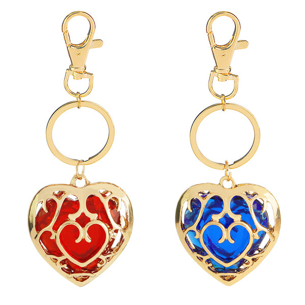 Free Shipping The Legend of Zelda Keychain Blue Red crystal keyring Skyward Sword Heart Container Pendant Jewelry Key Chain