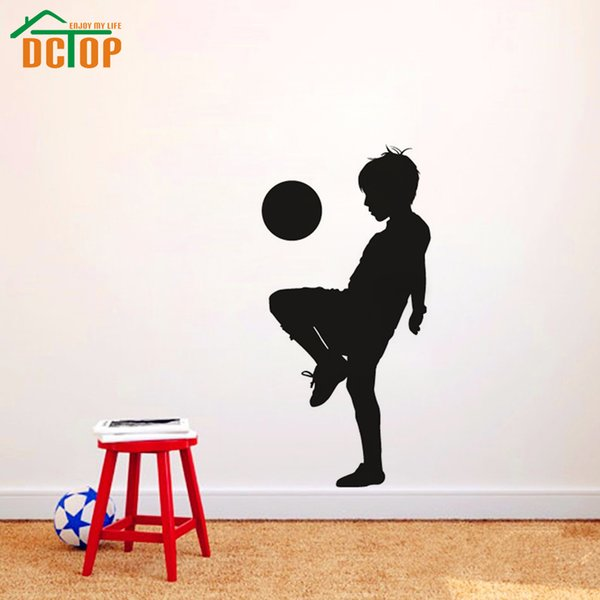 DCTOP Boy Playing Soccer Creative Wall Stickers Football Kids Wallstickers For Children Room Decoration