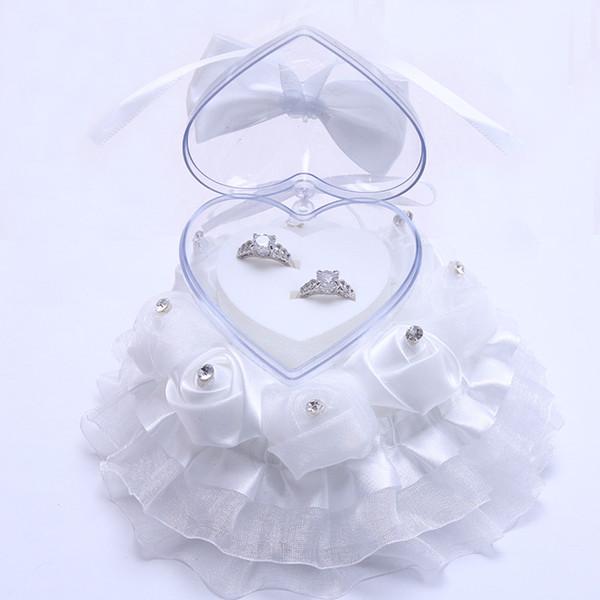 Großhandel Elegante Rose Hochzeit Bevorzugungen Spitzenkleid Kuchen Design Geschenk Ring Box Kissen Kissen Mariage Dekoration Brautschmuck Fall