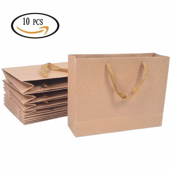 100PCS/Lot Kraft Paper Bag With Handle Baby Shower Wedding Birthday Party Favor Gift Christmas New Year Shopping Package Food Bag