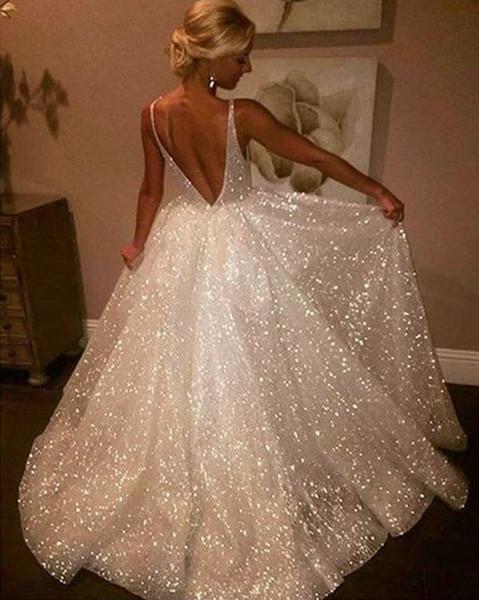 White Sexy Bling Sequins Tulle Backless 2019 Prom Dresses Deep V-Neck Sleeveless Prom Party Dress vestidos de fiesta
