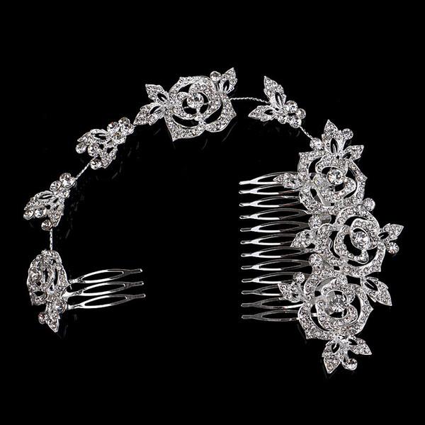 Eleganti capelli lunghi rosa pettine strass Forcine da sposa Accessori per capelli da sposa gioielli di cristallo austriaco