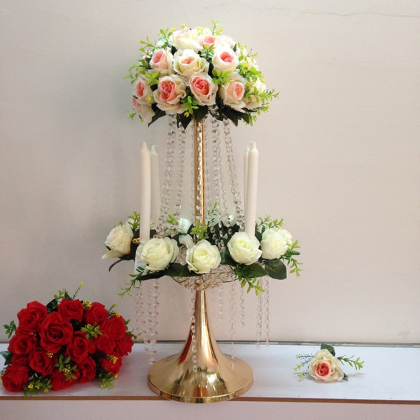 most popular tall stand crystal flower centerpiece for decoration H65cm wedding flower stand gold or silver wedding centerpiece LASSOCK8318