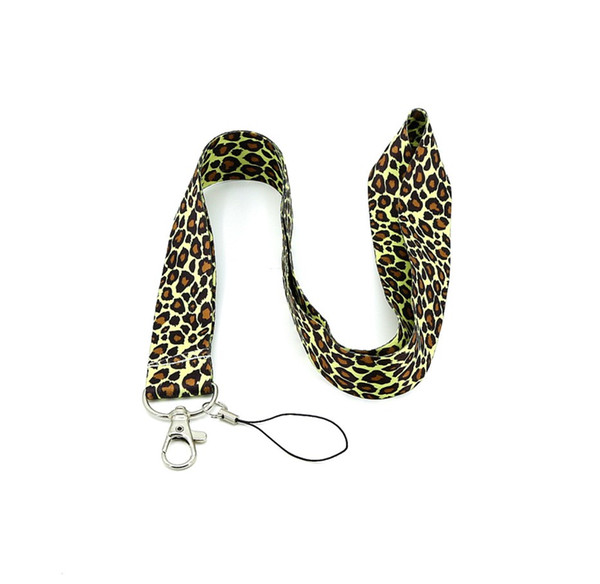 Hot Nylon The most popular Leopard Print neck strap key chain lanyard for cell phone iphone Samsung straps 8colors