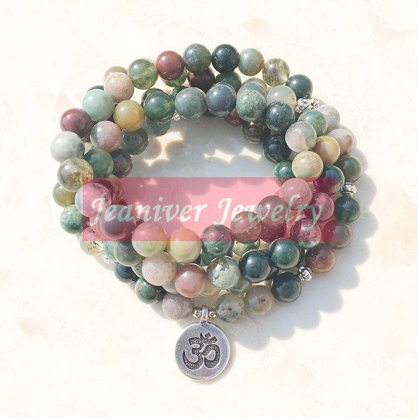 Jeaniver Top продажа женская обернуть браслет модные Индия камень Браслет или ожерелье 108 мала фантазии каменные бусины браслет