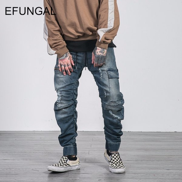EFUNGAL Ripped Hole Jeans Casual Pants Men Denim Hip Hop Joggers Fashion New Design Jean Streetwear Kanye Style Clothing FD08