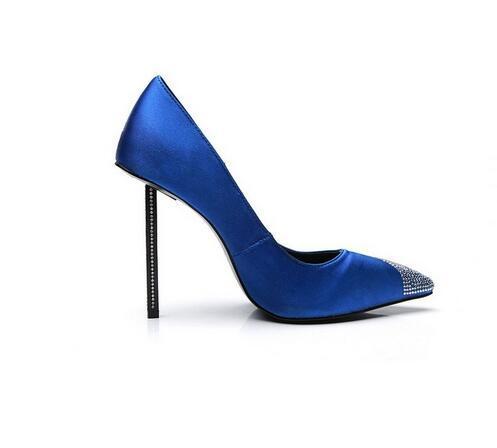 Royal Blue Stiletto Heels Women Pumps Sexy scarpe a punta Scarpe da donna con borchie Tacchi alti di cristallo Scarpe da sposa