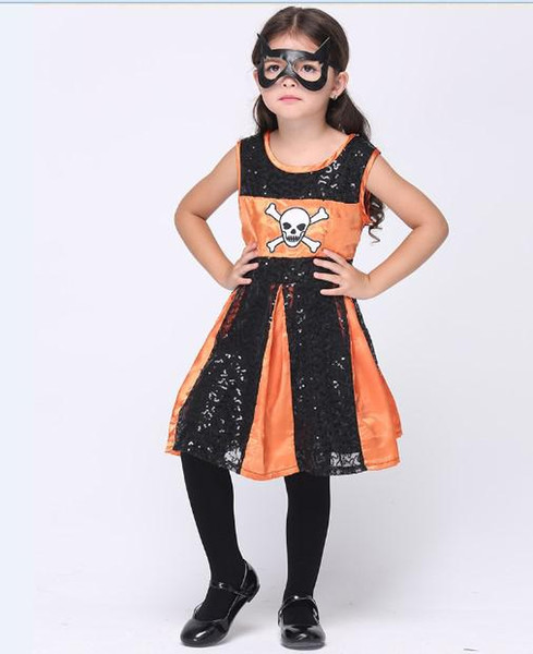 Little Gilr's Holloween Cosplay Color Match Tutu Skirts eye mask Set Kids Festival Costumes children clothing WGZ002