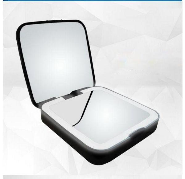 Mini Espelho de Maquiagem Portátil LED Dobrável Viagem USB Rechargeabel Bolso Espelho de Maquilhagem com Banco de Potência 3500mA