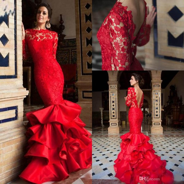 2018 Red Mermaid Backless Evening Dresses Wear Lace Sexy Backless Tiered Ruffles Bateau Illusion Sweep Train Prom Dress Party Gowns Custom