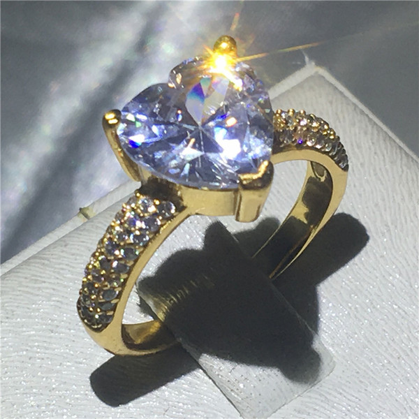 Romantic Women Heart Jewelry 3Colors Gold Filled Wedding Band Ring Clear Cubic Zirconia 3 Prong Setting Eternal Gift Size 5-10