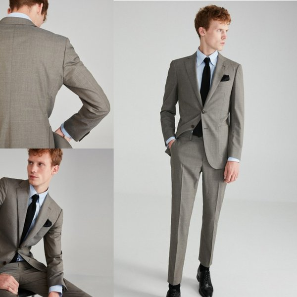 2018 New Formal Business Suits For Men Wedding Suits Trim Fit Groom Custom Made Dress Suits Tuxedos For Men (Jacket+Pant)