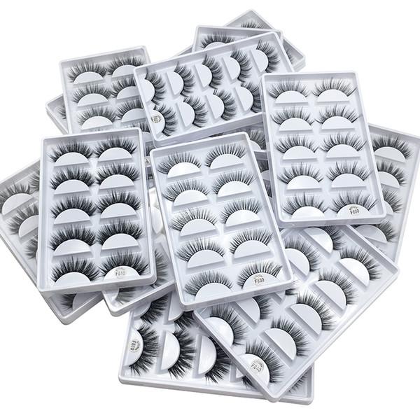 5 Paar Nerz Wimpern 3D Falsche Wimpern Dick Crisscross Makeup Wimpernverlängerung Natural Volume Weiche gefälschte Wimpern