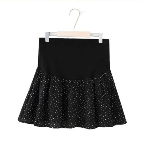 BONJEAN New Summer Maternity Skirts Fashion Chiffon Care Belly A-Line Pleated Skirt High Waist Dot Pattern Pregnancy Clothes