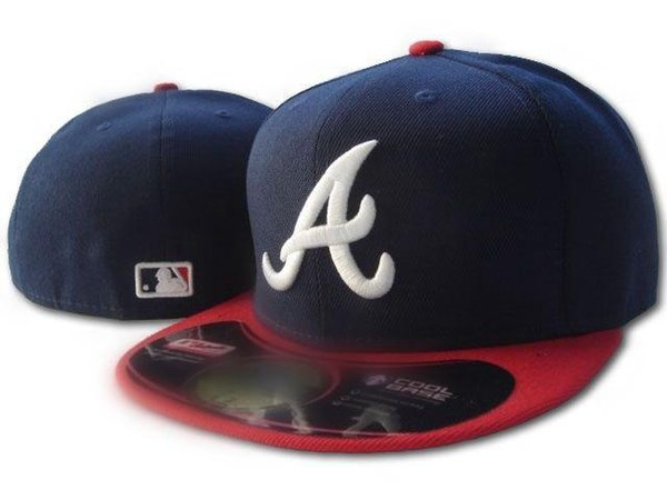 Men's Braves fitted hat flat brim embroiered team A letter logo fans baseball Hats Cheap Baseball Caps braves on field full closed cap navy