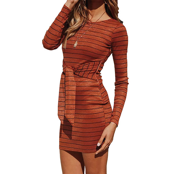 Rayas vendaje bodycon dress nueva moda lace up knit mujeres dress primavera otoño vaina vestido de fiesta de punto robe plus size m0194