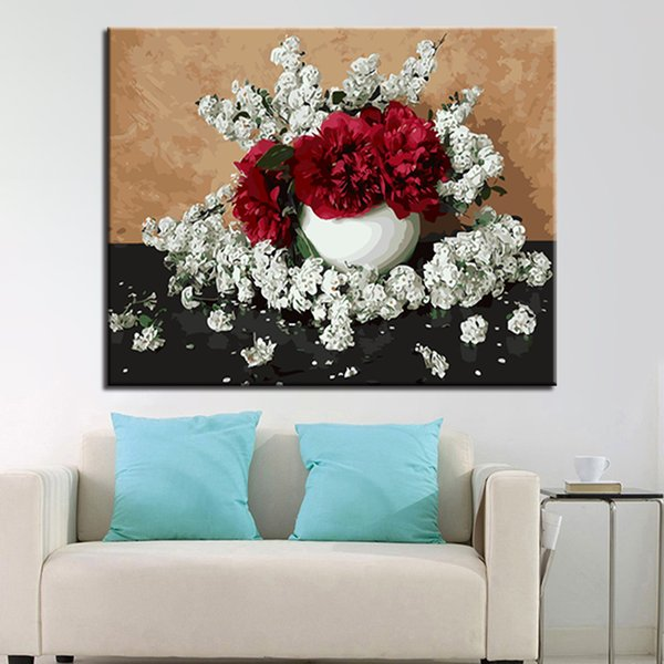 Best framework diy oil painting by numbers kits coloring drawing red flowers scattered white flowers pictures canvas decor wall art under 2773 framework diy oil painting by numbers kits coloring drawing red flowers scattered white flowers pictures canvas