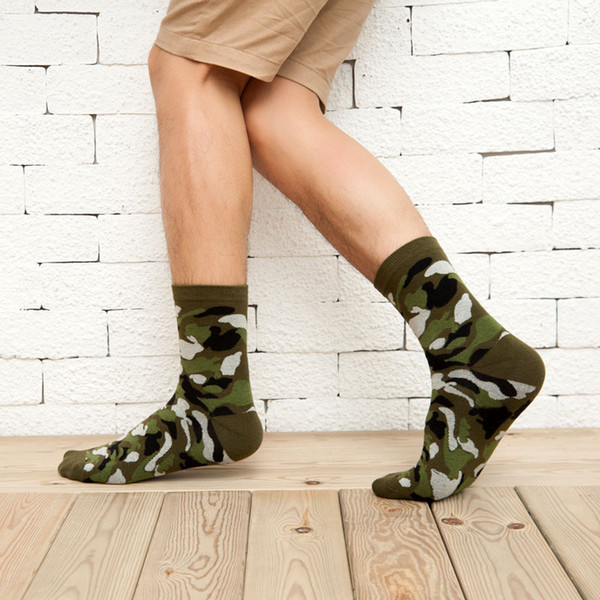 Mens Green Army Socks Mans Cotton Casual Ankle Socks Summer Camouflage for Team Party Playing Games 5 Color Free Size