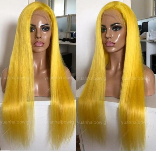 Yellow Full Lace Wig High Quality Virgin Chinese Human Hair Color Lace Wigs Celebrity Wig Silky Straight Front Lace Wigs Free Shipping