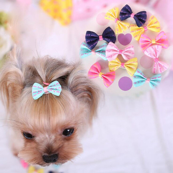 NEW Handmade designer colorful printing small hairpin Teddy pet bow tie headdress accessories pet supplies wholesale