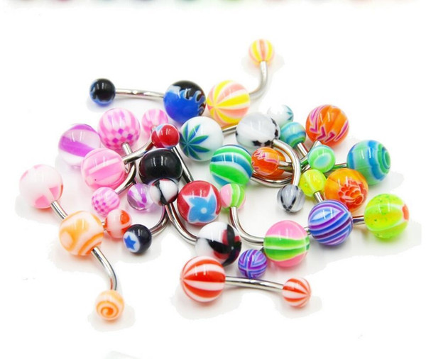 20pcs/lot Stainless Steel Belly Button Ring Navel Piercing Bar Body Jewelry Curved Barbell with Acrylic Pattern Ball