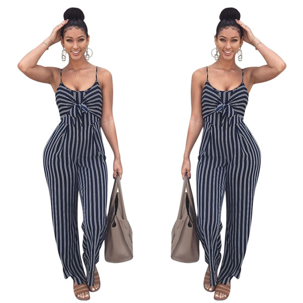 Women Fashion Sexy Rompers Jumpsuits Autumn Design Long Jumpsuit Sexy Stripped Sleeveless Party Jumpsuit High Quality