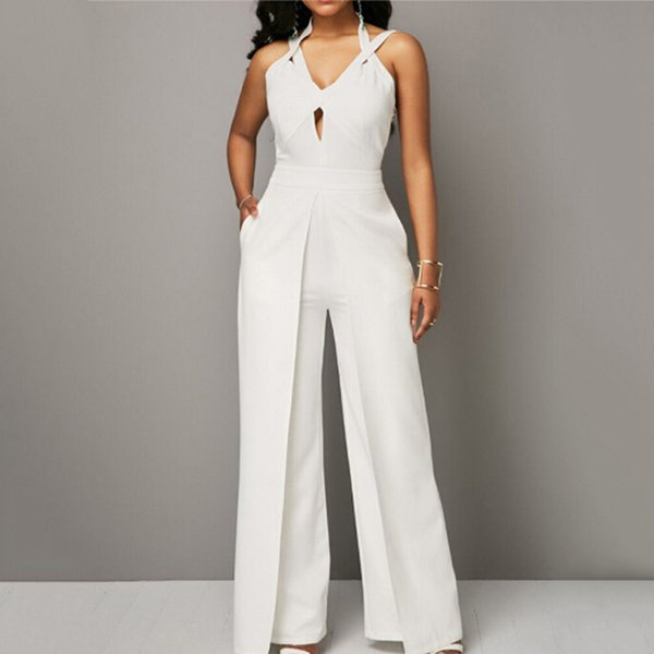 2019 Sexy Women Summer Hollow Out Jumpsuits Hot Halter Full Length Pants Playsuit Women's Slim V Neck Party Rompers Overalls