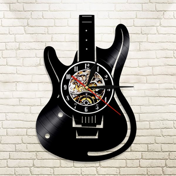 1Piece Musical Instruments Guitar Wall  Led Wall Lighting Color Change Vintage LP Record Clock Decor Handmade LED Light