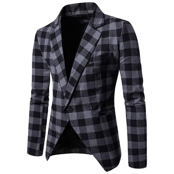 Kaliteli pamuk karışımı kumaş yaka boyun ekose tasarım bir düğme erkekler moda takımları