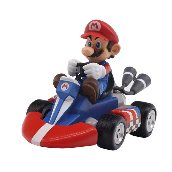 Action Figure toys 7 Styles Super Mario Bros Mario Pull Back Kart Racer Car Donkey Kong Luigi Yoshi Toad Princess Action Figures Toy