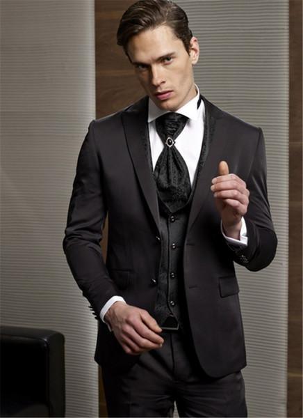 Custom Made Noivo Smoking Groomsmen Casamento Marrom EscuroDinnerTernos de Noite Melhor Noivo Homem (Jacket + Pants + Tie + Vest)