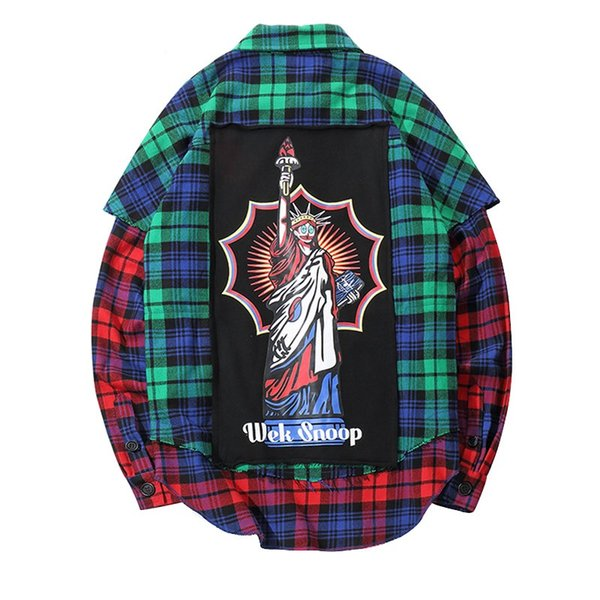 Funny Statue of Liberty Printed Color Block Patchwork Pockets Side Zipper Shirts 2018 Hip Hop Casual Long Sleeve Shirts