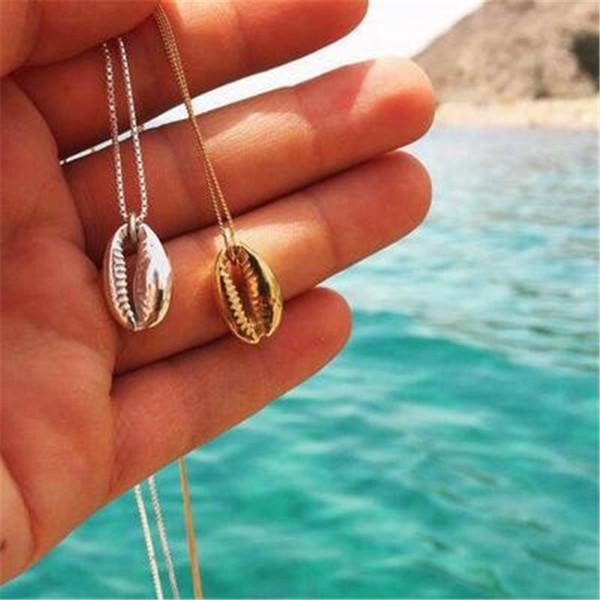 Yobest Vintage Gümüş Alaşım Kabuklu Altın Kabuk Kolye Kadınlar Için şekil Kolye Basit Deniz Kabuğu Okyanus Plaj Boho Bohemian Takı