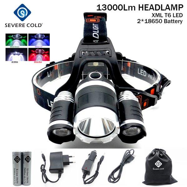 13000Lm XML T6+Red Green UV White LED Headlight Headlamp Head Lamp Head Light Torch +2x18650 Battery+EU/US Charger