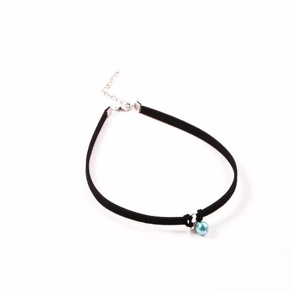 Leder Anhänger Halskette Frauen Choker Künstliche Casual Synthetische Perle Einstellbar
