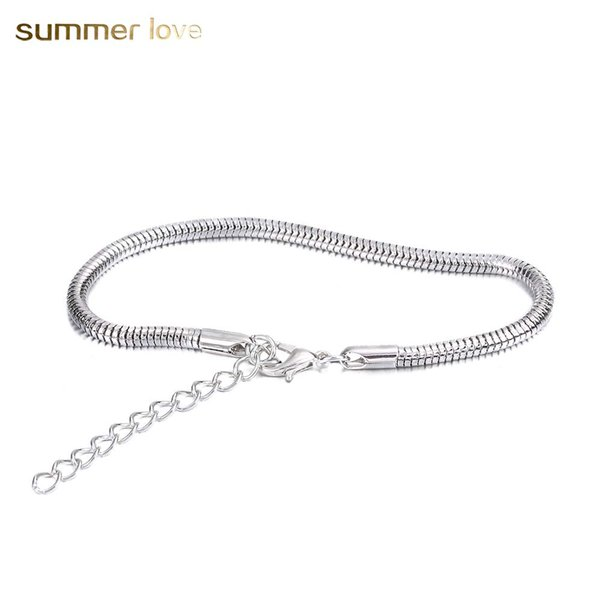 silver plated snake chain men women bracelets punk style adjustable size chain bracelets for diy jewelry charm