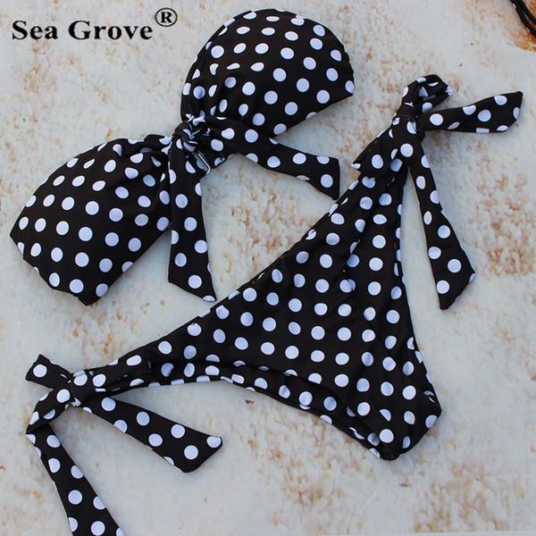 wholesale Women Sexy Dot Swimsuit retro swimwear vintage top praia Bathing Suit Cute Polka BowBandage Bikini Set Beach Wear Monoki