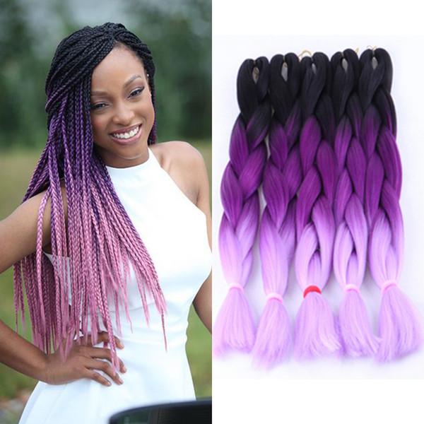 Three Tone Colors Ombre Braiding Hair Wholesale Kanekalon Xpression Jumbo Box Braids Hair 24 Inch 100g Ombre Purple Braiding Hair Color