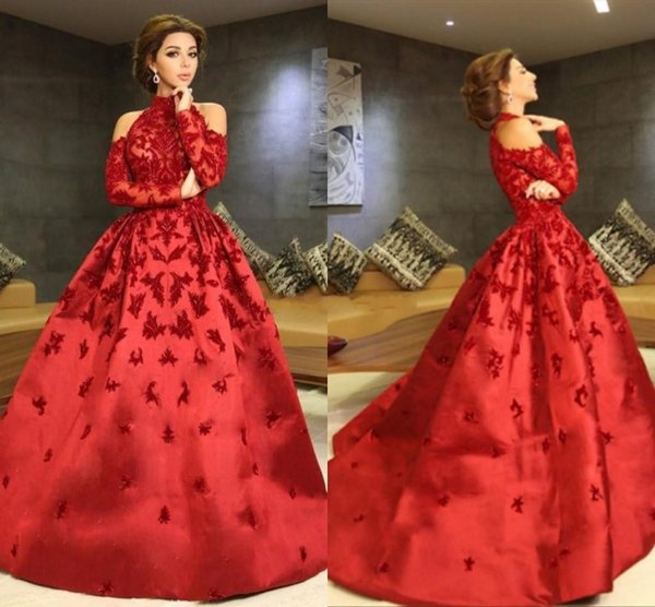Luxury Myriam Fares Red Evening Dresses High Neck Long Sleeves Appliques Beaded Satin Ball Gown Celebrity Gowns Formal Prom Dresses