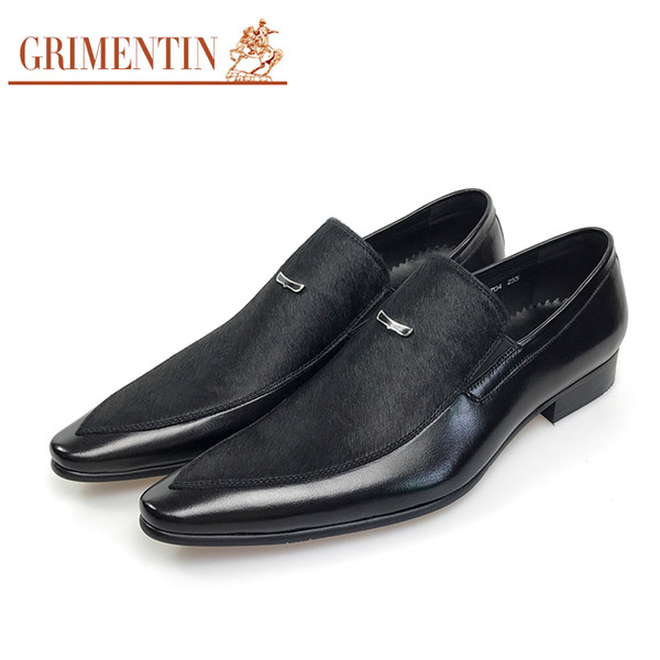 GRIMENTIN Hot sale Italian fashion formal mens shoes dress summer black male loafers genuine leather business wedding office mens shoes