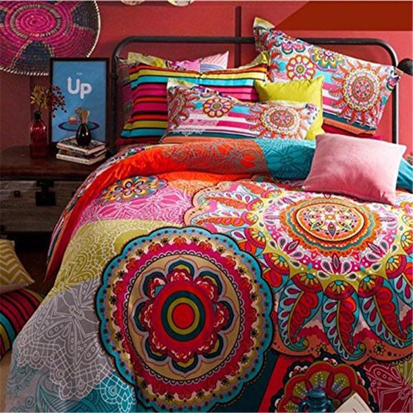 FADBoho Juegos de cama de estilo Boho Funda nórdica Juego de cama Bohemia Queen Size 4Pcs Cama de algodón Ropa de cama plana