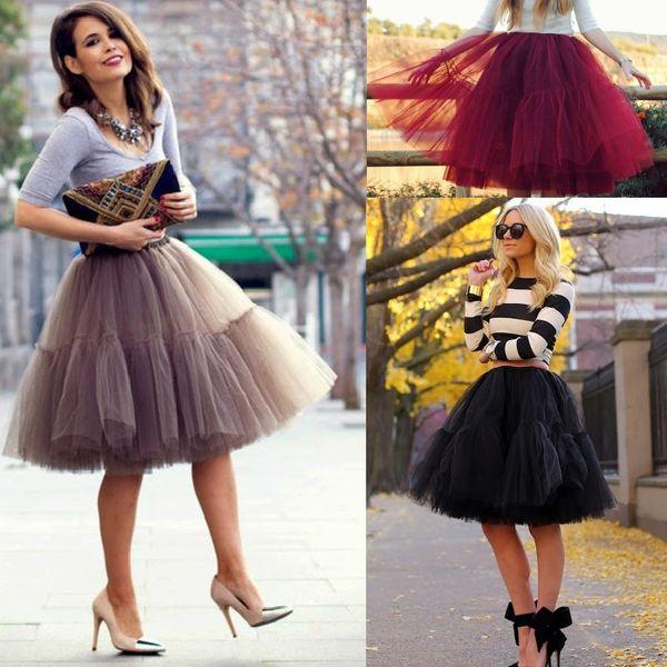 6 Layers Pleat Tulle Skirts For Women Elastic Waist Tea Length Midi Maxi Skirts Plus Size Petticoat Party Skirts
