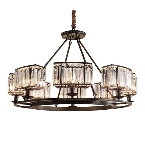 American crystal chandeliers living room restaurant crystal pendant lamps European country pendant lights bedroom black candle chandeliers