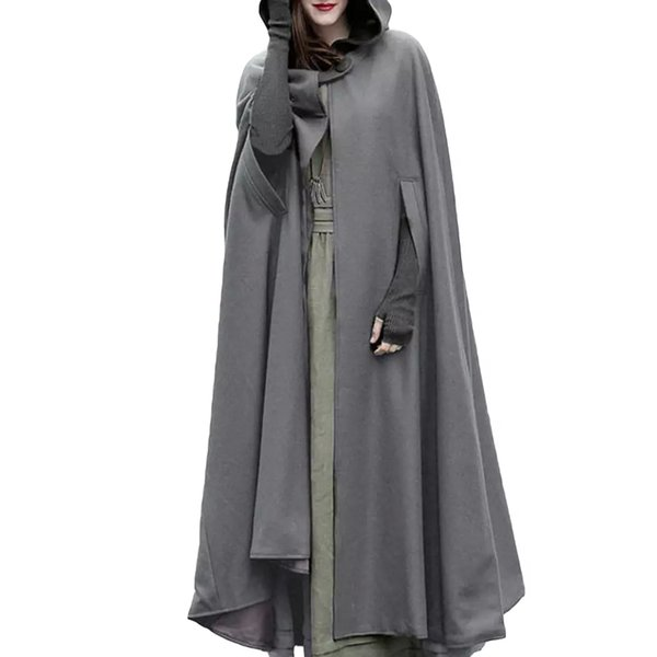 Women Oversized Retro Irregular Long Poncho Cape Trench Cloak 2018 Autumn Winter Hooded Coat Button Open Front Cardigan Overcoat