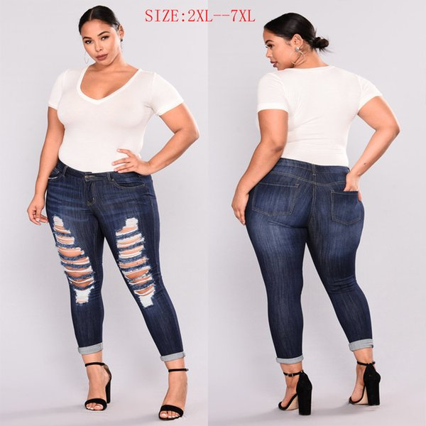 Fat Po big code fashion holes big ass small feet high elastic jeans
